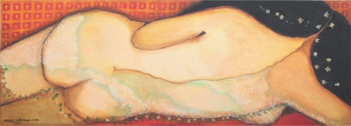 mulher nua de costas  da série Bordel, acrílica sobre tela, 2,20 x 0,8 m, 2009 Tereza Costa Rego